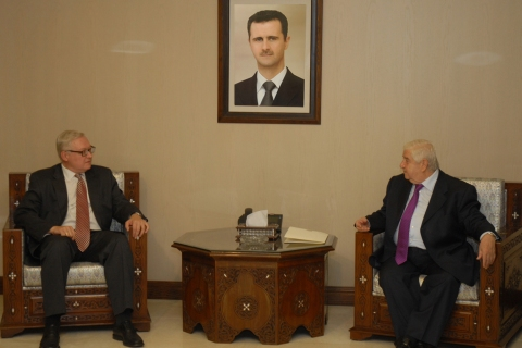 Syrian Foreign Minister Walid al-Muallem  meets Russian deputy Foreign Minister, Sergei Ryabkov, in Damascus