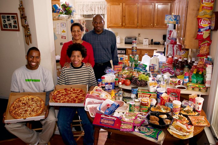 United States: The Revis family of North Carolina.  Food expenditure for one week: $341.98. Favorite foods: spaghetti, potatoes, sesame chicken.