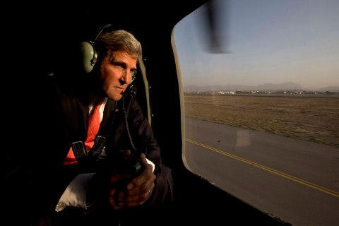 U.S. Secretary of State John Kerry takes off in a black hawk helicopter in Kabul