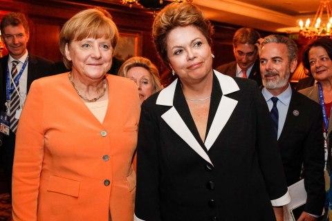 Brazil's President Dilma Rousseff, right, and German Chancellor Angela Merkel