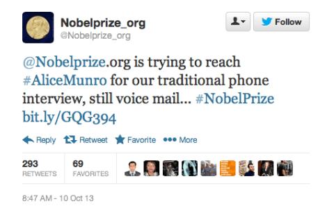 Nobel prize alice munro twitter