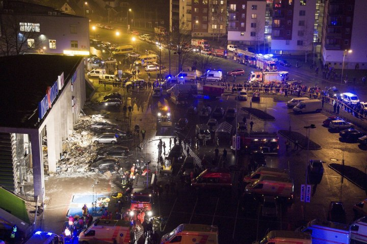 The exterior of the 'Maxima' supermarket, after its roof collapsed in Riga, on Nov. 21, 2013.