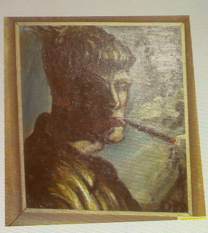 A newly discovered painting of German artist Dix is beamed to a wall in a courtroom in Augsburg