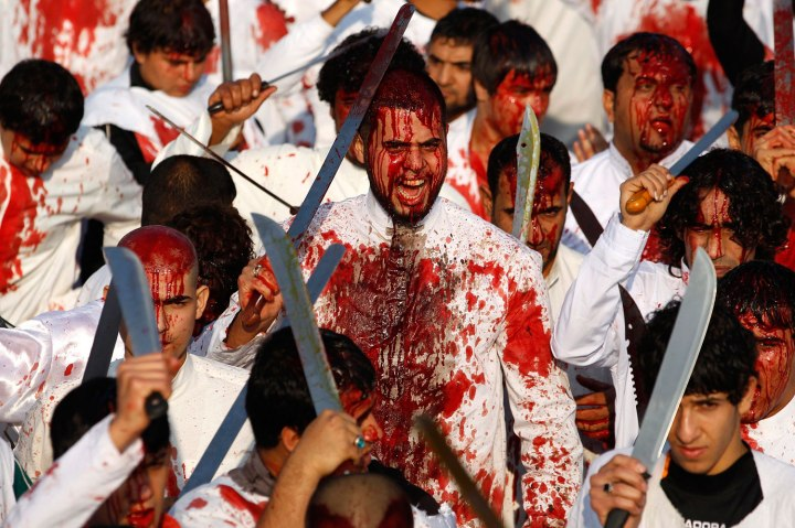Iraqi Shi'ite Muslims bleed during the religious festival of Ashura in Baghdad