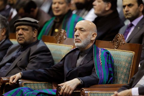 Afghan President Hamid Karzai attends the last day of the Loya Jirga in Kabul, on Nov. 24, 2013.