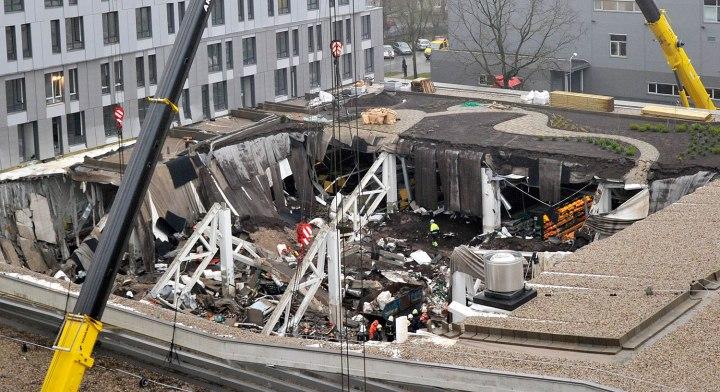 A  view of collapsed Maxima supermarket in Riga, Latvia, Nov. 22, 2013.