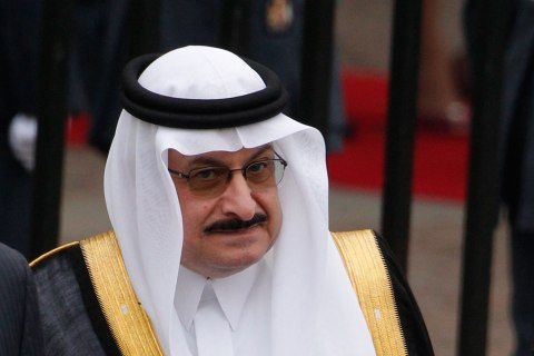 Saudi Arabia's Prince Mohamed bin Nawaf bin Abdulaziz and Princess Fadwa bint Khalid bin Abdullah bin Abdulrahman leave after the wedding ceremony in Westminster Abbey, in central London