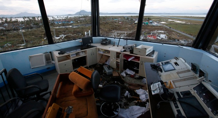 The damaged control tower of Tacloban airport is seen after super Typhoon Haiyan battered Tacloban city, in central Philippines