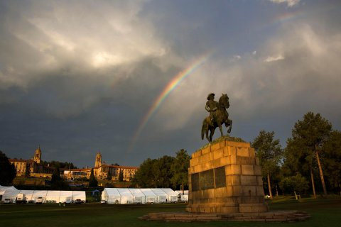 A rainbow forms over the Union Buildings and the the statue of Louis Botha, the first Prime Minister of the Union of South Africa, in Pretoria, South Africa, on Dec. 12, 2013, after the public viewing of the late former South African President Nelson Mandela's casket lying in state finished for the day.