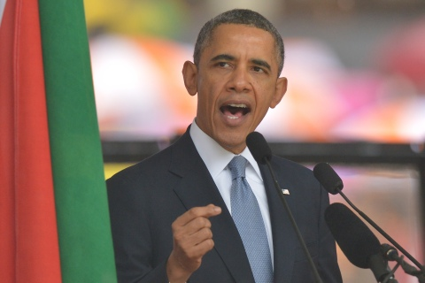 U.S. President Barack Obama delivers a speech during the memorial service for late South African President Nelson Mandela at Soccer City Stadium in Johannesburg to on Dec. 10, 2013.