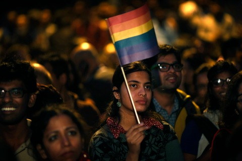 Gay rights activists attend a protest meeting after the top Indian court ruled that a colonial-era law criminalizing homosexuality will remain in effect in India in New Delhi, on Dec. 11, 2013.