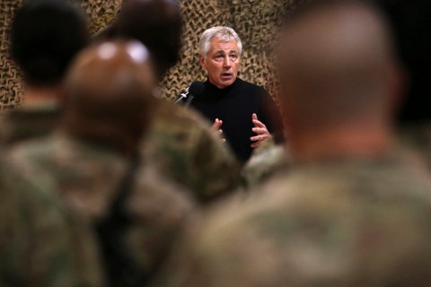 U.S. Secretary of Defense Chuck Hagel speaks to U.S. troops at the Kandahar Air Base