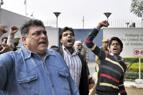 Anti-US Protest Against Arrest And Ill-Treatment Of Indian Diplomat