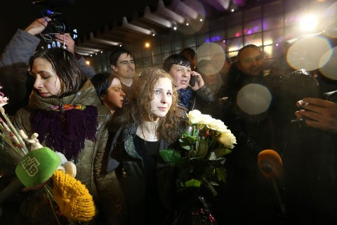 Alyokhina of Russian punk protest band Pussy Riot arrives at Moscow's Kursky railway station