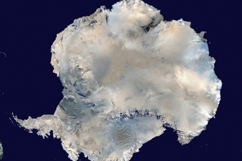 A satellite view of Antarctica is seen in this undated NASA handout photo