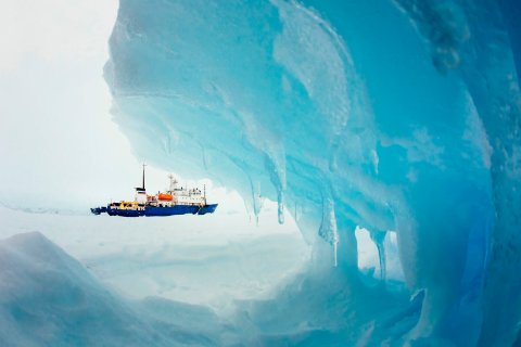 The MV Akademik Shokalskiy stranded in ice in Antarctica, Dec. 29, 2013.