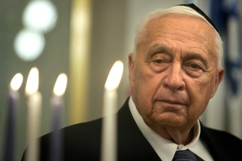 Former Israeli Prime Minister Ariel Sharon at the lighting of a Hanukkah candle at his Jerusalem office, on Dec. 27, 2005.