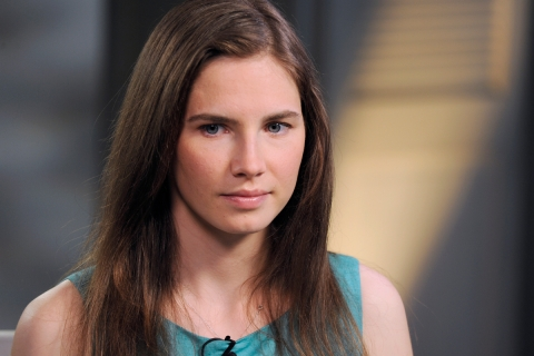 Amanda Knox during a taped interview with ABC News' Diane Sawyer in New York City on April 9, 2013.