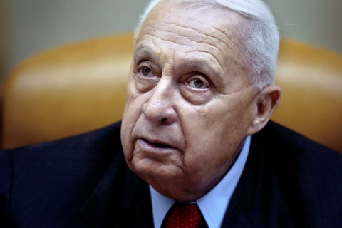 Former Israeli Prime Minister Ariel Sharon during the weekly cabinet meeting in his Jerusalem office, on Jan. 30, 2005.