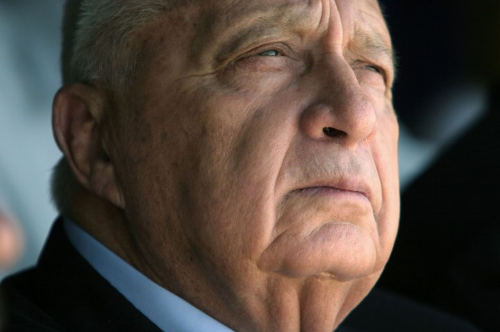 Former Israeli Prime Minister Ariel Sharon visits the southern Israeli Beduin town of Rahat, on Aug. 10, 2004.