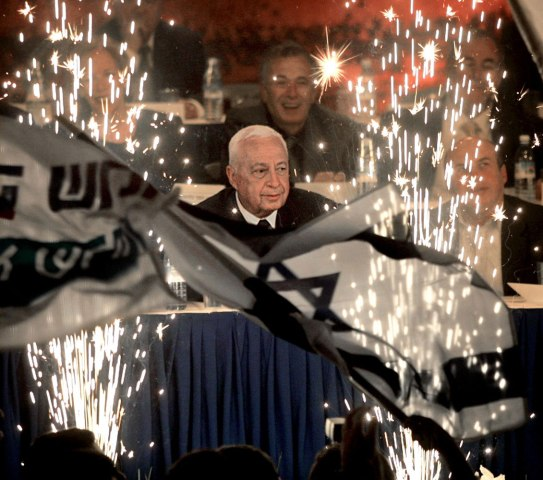 Ariel Sharon, leader of Israel's right-wing Likud Party, during the official opening of his electoral campaign in the Jerusalem International Convention Center, on Jan. 10, 2001.