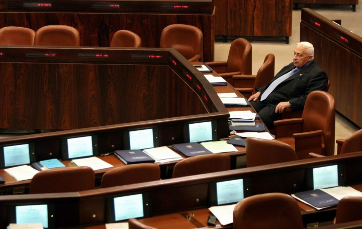 Israeli Prime Minister Ariel Sharon listens to a Knesset (Parliament) speech on March 15, 2004.
