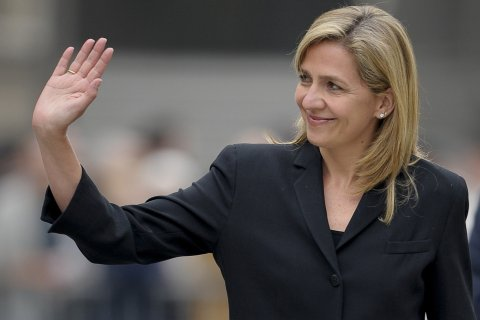 Spain's Princess Cristina arrives to attend a funeral mass for Juan Antonio Samaranch at Barcelona's cathedral, April 22, 2010.