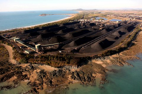 Mounds of coal along the coastline of Queensland at the port of Hay Point, located around 450 km (279 miles) southeast of the city of Townsville August 5, 2009.
