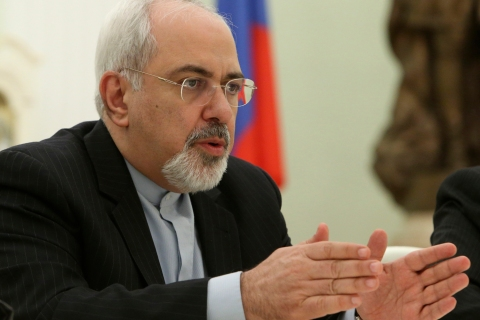 Iran's Foreign Minister Javad Zarif speaks during his meeting with Russian President Putin in Moscow's Kremlin