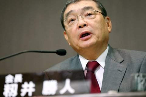 The new chairman of public broadcaster Japan Broadcasting Corp. (NHK) Katsuto Momii speaks during a press conference on Jan. 25, 2014 in Tokyo.