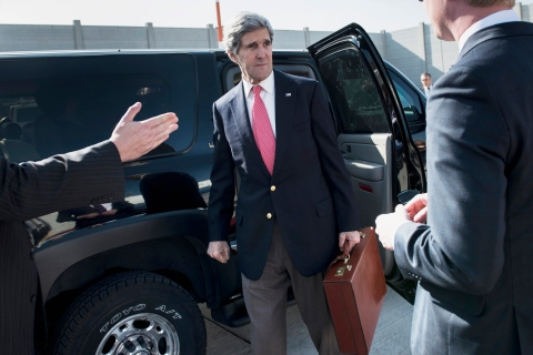 U.S. Secretary of State Kerry arrives at Ben Gurion International Airport in Tel Aviv