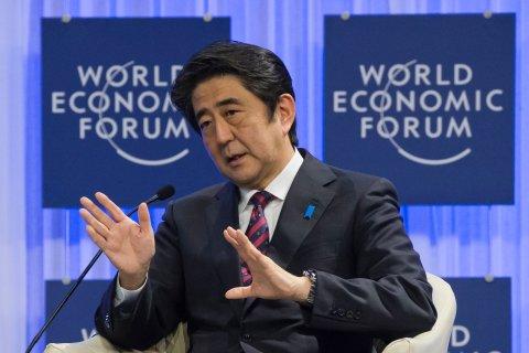 Japanese prime minister Shinzo Abe speaks at the World Economic Forum in Davos, Switzerland, on Jan. 22, 2014.