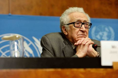 U.N.-Arab League Special Envoy to Syria Lakhdar Brahimi attends a press conference in Geneva, Jan. 27, 2014.