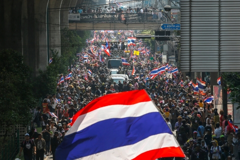 Anti-government protesters take part in a rally in central Bangkok