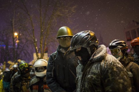 Anti-government protestors gather in Independence Square on January 29, 2014 in Kiev, Ukraine.