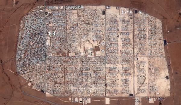 2014 Satellite Image of the Expansion of the Zaatari Refugee Camp in Jordan