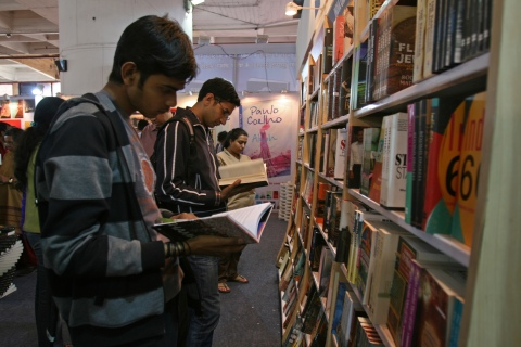 Visitors browse through Penguin books on