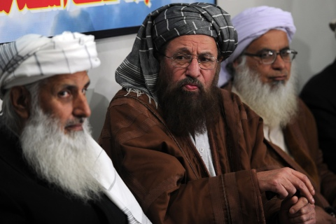 Members of a committee from Tehreek-e-Taliban Pakistan (TTP),  set up to hold talks with the government of Pakistan, speak with media representatives in Islamabad on Feb. 4