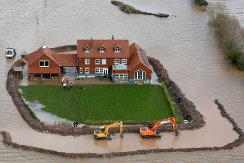 Aerial Views Show The Extent Of The Flooding On The Somerset Levels