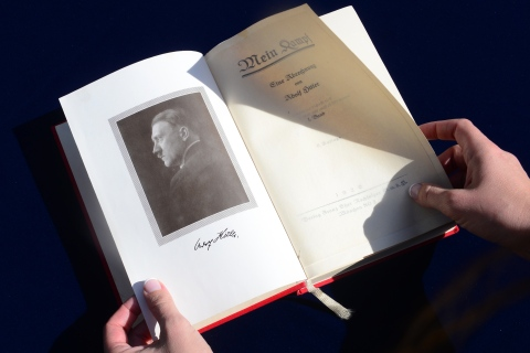 "One of two rare copies of ""Mein Kampf"" signed by the young Nazi leader Adolf Hitler and due for auction, photographed in Los Angeles, February 25, 2014."