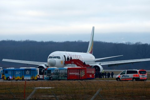 Hijacked Ethiopian Airlines flight ET 702 at Cointrin airport in Geneva, on Feb. 17, 2014.