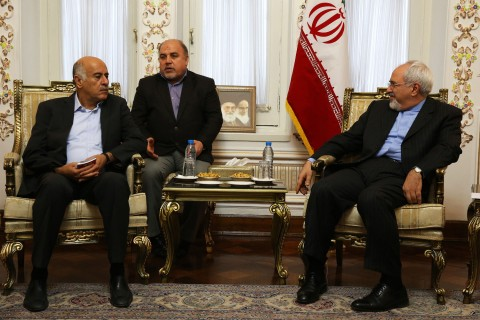 Iranian Foreign Minister Mohammad Javad Zarif, right, meets with with Palestinian Fatah member, Jibril Rajoub, left, in Tehran on Jan. 28, 2014.