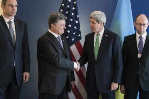 From Left: Vitali Klitschko, the head of the Ukrainian UDAR (Punch) party, Ukrainian businessman and politician Petro Poroshenko, U.S. Secretary of State John Kerry and Ukrainian opposition leader Arseniy Yatsenyuk prior to a meeting during the Munich Security Conference at the Bayerischer Hof Hotel in Munich, on Feb. 1, 2014.