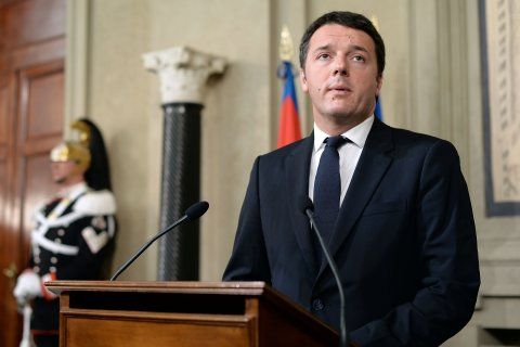 The head of the leftist Democratic Party, Matteo Renzi speaks to reporters at Quirinale Palace in Rome on Feb. 17, 2014.