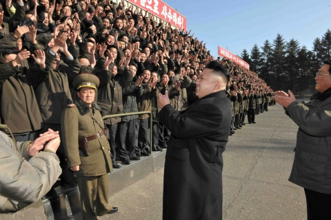 North Korean leader Kim gives field guidance to the State Academy of Sciences in this undated photo released by KCNA in Pyongyang