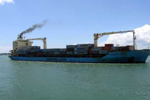 U.S.-flagged container ship, Maersk Alabama, sails into the Kenyan coastal sea port of Mombasa, November 22, 2009.