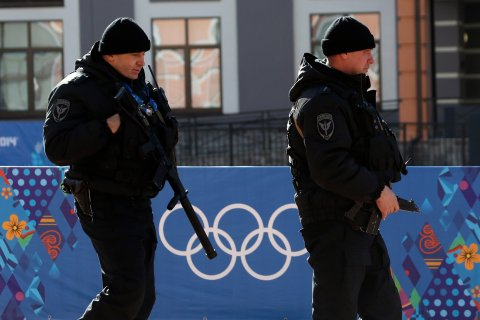 Russian security forces patrol the streets as preparations continue for the 2014 Sochi Winter Olympics in Rosa Khutor Feb. 6, 2014.