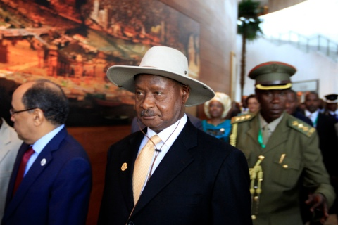 Uganda's President Yoweri Museveni arrives for the opening ceremony of the 22nd Ordinary Session of the African Union summit in Ethiopia's capital Addis Ababa, on Jan. 30, 2014.