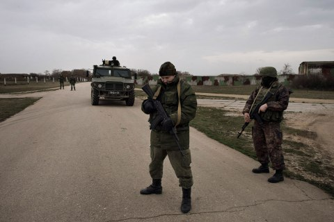 Russian soldiers at the contested Belbek airfield in Crimea on March 4, 2014.